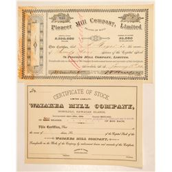 Two Hawaiian Sugar Mill Company Stock Certificates  (101559)