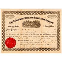 Yellowstone Land & Colonization Company Stock Certificate  (100834)