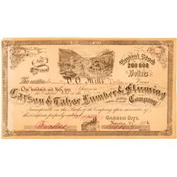 Carson & Tahoe Lumber & Fluming Co. Stock Issued to DO Mills  (100728)