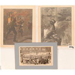 Harpers Prints (3) of Firemen on Duty  (91498)