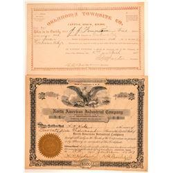 Two Oklahoma Stock Certificates  (100995)