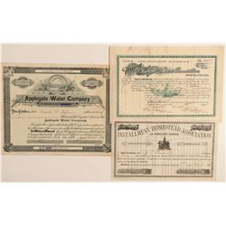 Three Oregon Stock Certificates: Bank, Homestead and Water  (91949)