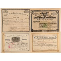 Four Dakota Stock Certificates (Banking, Mining, Etc.)  (100812)