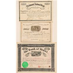 Three Dakota Territory Banking Stock Certificates  (100815)