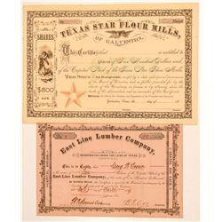 Two Texas Stock Certificates: Lumber and Flour Mill  (101563)