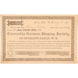 Concordia German Singing Society Stock Certificate  (100972)