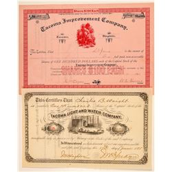 Two Tacoma Stock Certificates  (100975)