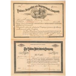 Two Yakima, Washington Stock Certificates  (100976)