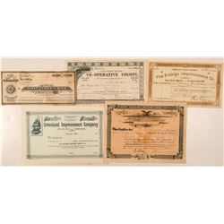 Five Different Washington Stock Certificates (Not Mining)  (100969)