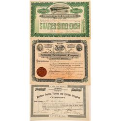 Three Different Non-Mining Washington Stock Certificates  (100970)