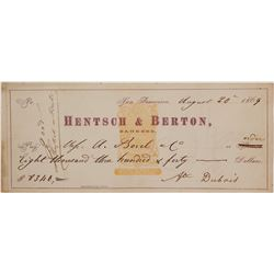 Hentsch & Berton Revenue Imprinted Check (SS Central America Ingots)  (50919)