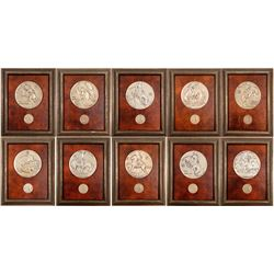 Extremely Rare MACo 10-pc Framed Remington 6-inch Medallions  (103123)