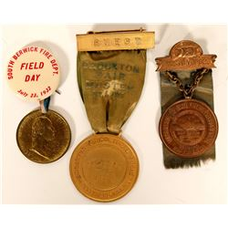 Fireman and Field Day Medals with Ribbons (3)  (101737)