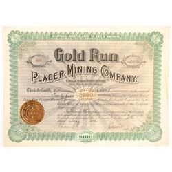 Gold Run Placer Mining Company Stock  (103564)