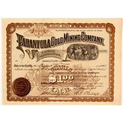 The Tarantula Gold Mining Co. Stock Certificate, Pinal County, AZ 1898  (59067)