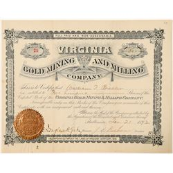 Virginia Gold Mining & Milling Co. Stock Certificate  (100913)