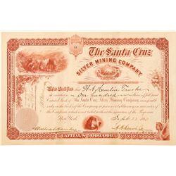 Santa Cruz Silver Mining Company Stock Certificate  (100903)