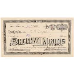 Cincinnati Mining Company Stock Certificate  (91812)
