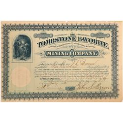 Tombstone Favorite Mining Company Stock Certificate  (102494)