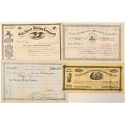 Three Arizona Stock Certificates: Mining & Mormon  (100907)