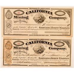 California Mining Company Stock Certificate  (100754)