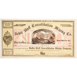 Bodie Bluff Consolidated Mining Stock, Leland Stanford Signature  (82022)