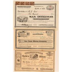 Three Different Calaveras County Mining Stock Certificates  (100861)