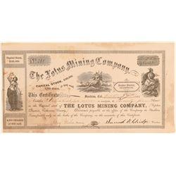 Lotus Mining Company Stock Certificate  (100847)