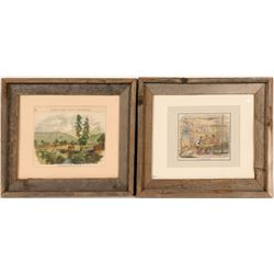 "Early Lithographs / "" A California Cabin & Sutter's Mill"" / 2 Items.  (102131)"