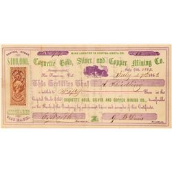 Coquette Gold, Silver & Copper Mining Co. Stock Certificate  (101501)