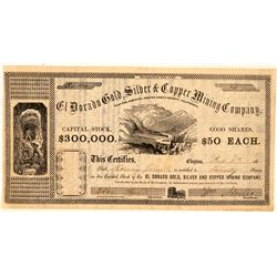 El Dorado Gold, Silver & Copper Mining Co. Stock Certificate  (101495)