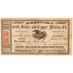 Kentucky Gold, Silver & Copper Mining Co. Stock Certificate  (101499)