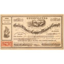 Unexpected Gold, Silver & Copper Mining Co. Stock Certificate  (100998)