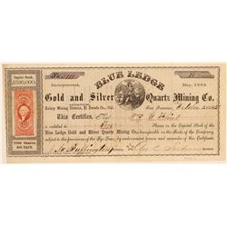 Blue Ledge Gold & Silver Quartz Mining Co. Stock Certificate  (100851)