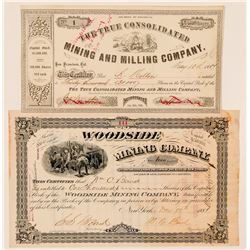 Two El Dorado County Mining Stock Certificates incl. Number 1  (100819)