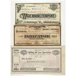 Three Fresno-Area Mining Stock Certificates  (100889)