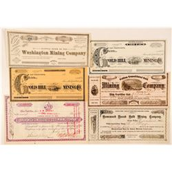 Grass Valley & Nevada City Mining Stock Certificate Collection  (100843)