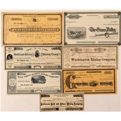 Grass Valley & Nevada City Mining Stock Certificate Collection  (100842)