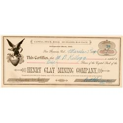 Henry Clay Mining Company Stock Certificate (Borax)  (100745)