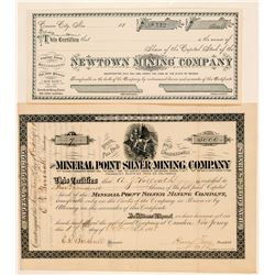 Two Inyo County Mining Stock Certificates incl. Panamint  (100753)