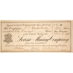 Loretto Mining Company Stock Certificate - a G. T. Brown Lithograph  (59688)