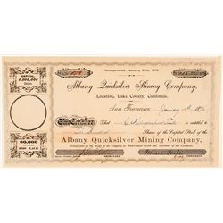 Albany Quicksilver Mining Company Stock Certificate  (100828)