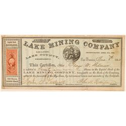 Lake Mining Company Stock Certificate   (101513)