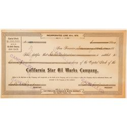 California Star Oil Works Company Stock Certificate  (100876)