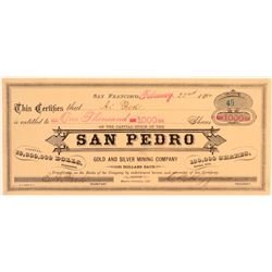 San Pedro Gold & Silver Mining Co. Stock Certificate  (100859)