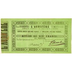 California Gold Rush Stock Certificate: L'Aurifere  (100943)