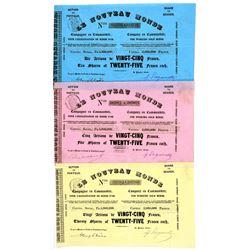 Le Nouveau Monde Stock Certificate Trio--California Gold Rush  (100886)