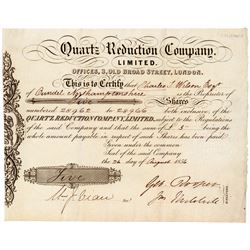 Quartz Reduction Company Stock Certificate  (100883)