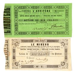Two French Issued Fremont Grant Mining Stock Certificates  (100885)