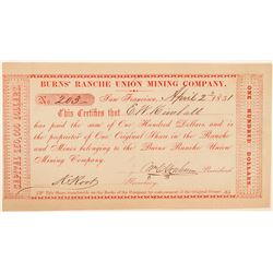Burns Ranche Union Mining Co. Stock--One of the Earliest Known California Mining Stocks  (100873)